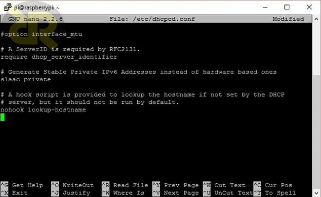 dhcpcd.conf در اختصاصIP استاتیک در Raspberry Pi