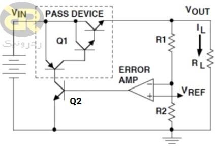 مدار یک رگولاتور خطی معمولی