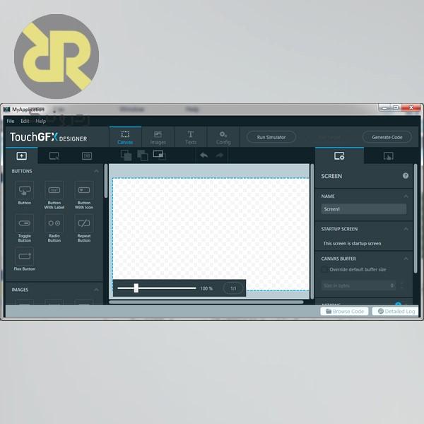محیط نرم افزار TouchGFX Designer