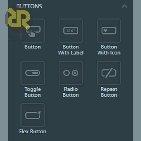 مدل های مختلف دکمه در نرم افزار touchGFX