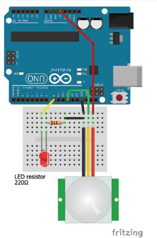 اتصال سنسور مادون قرمز پسیو به آردوینو