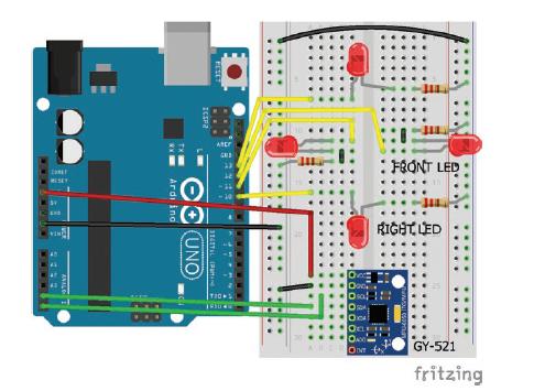 اتصالات ماژول GY-521 و LED ها به آردوینو
